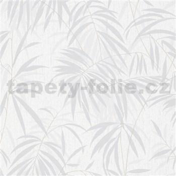 Vliesové tapety na zeď IMPOL Timeless listy šedé na bílém podkladu