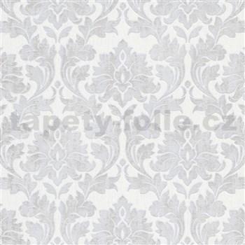 Vliesové tapety na zeď IMPOL Timeless ornamenty šedé se stříbrými třpytkami na bílém podkladu