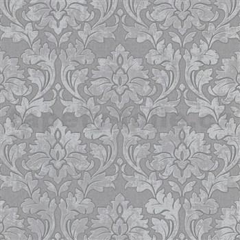 Vliesové tapety na zeď IMPOL Timeless ornamenty šedé se stříbrými třpytkami na šedém podkladu