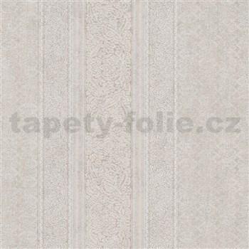 Vliesové tapety na zeď IMPOL Timeless drobné ornamenty bílé na béžovém podkladu