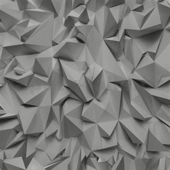 Vliesové tapety na zeď Times - 3D hrany šedo-stříbrné