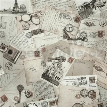 Vliesové tapety na zeď Times - pohlednice hnědé