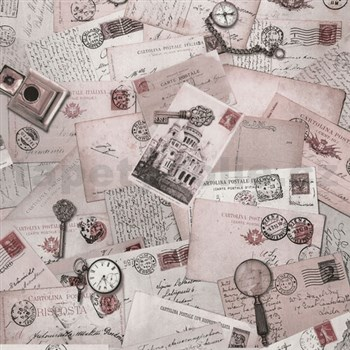 Vliesové tapety na zeď Times - pohlednice růžové