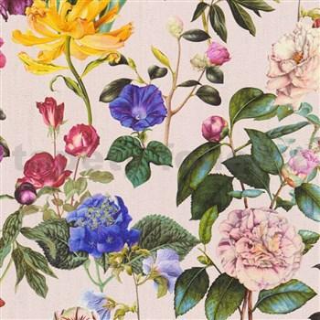 Vliesové tapety na zeď Trendwall květy barevné na béžovém podkladu