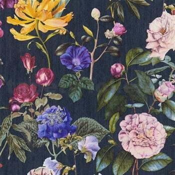 Vliesové tapety na zeď Trendwall květy barevné na černém podkladu