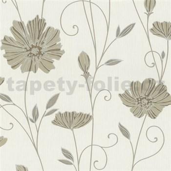 Vliesové tapety na zeď Tribute - květy máků hnědé na krémovém podkladu