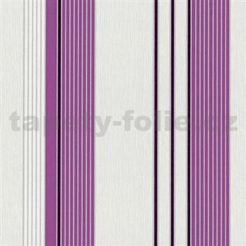 Vliesové tapety na zeď Tribute - pruhy fialovo-stříbrné na bílém podkladu - DOPRODEJ