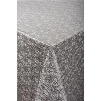 Ubrus metráž transparentní květy stříbrné
