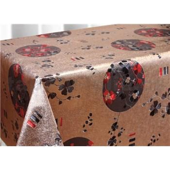 Ubrus metráž metalické květy červené a černé