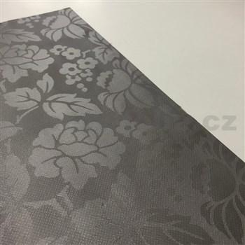 Ubrus návin 20 m x 140 cm květinový vzor hnědý