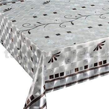 Ubrus návin 20 m x 140 cm metalické lístky hnědé se stříbrnými květy