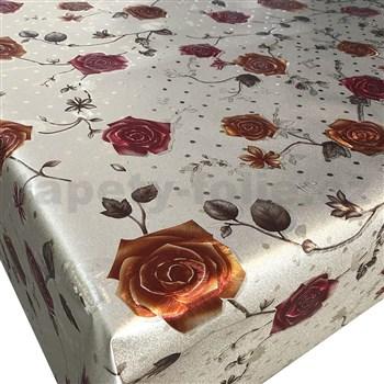 Ubrusy návin 20 m x 140 cm růže na metalickém podkladu