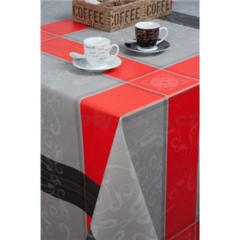 Ubrusy návin 20 m x 140 cm čtverce s ormanenty červeno-šedé