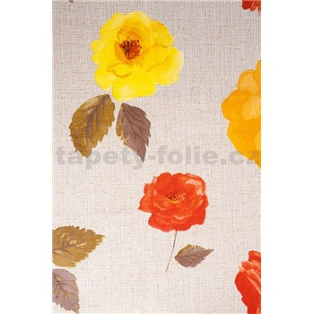Ubrusy návin 20 m x 140 cm květy na světle hnědém podkladu - DOPRODEJ