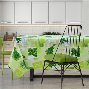 Ubrus metráž bylinky na zeleném podkladu