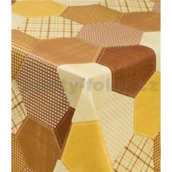 Ubrus metráž geometrický vzor hnědo-žlutý