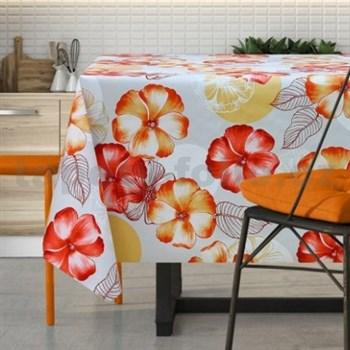 Ubrus metráž květy červeno-oranžové