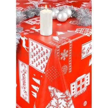 Ubrus metráž vánoční motiv červený