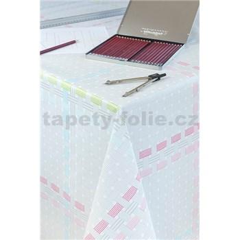 Ubrusy návin 20 m x 140 cm proplétaný vzor šedo růžový