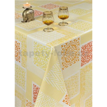 Ubrusy návin 20 m x 140 cm patchwork žluto-oranžový