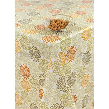 Ubrusy návin 20 m x 140 cm geometrické květy oranžovo zelené