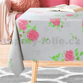 Ubrusy návin 20 m x 140 cm růže s poupaty
