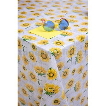 Ubrusy návin 20 m x 140 cm slunečnice na šedém podkladu