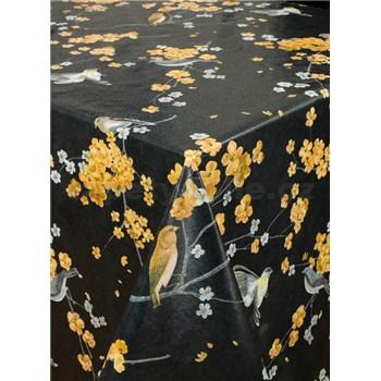 Ubrusy návin 20 m x 140 cm rozkvetlé větvičky na černém podkladu