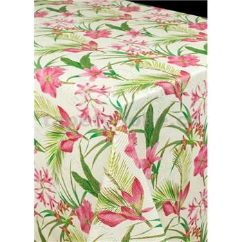 Ubrus metráž lilie růžové s textilní strukturou