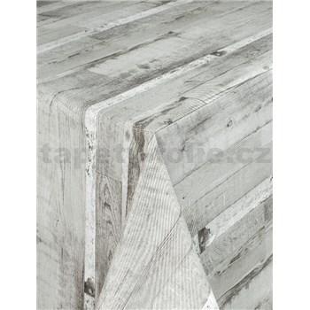 Ubrus metráž dřevěné desky šedé s textilní strukturou