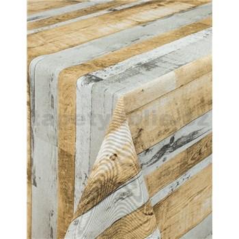 Ubrusy návin 20 m x 140 cm dřevěné desky šedo-hnědé s textilní strukturou