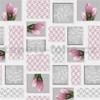 Ubrus metráž růžové tulipány