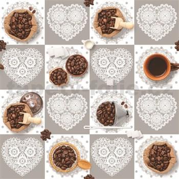 Ubrusy návin 20 m x 140 cm kávová zrnka s krajkovými srdíčky