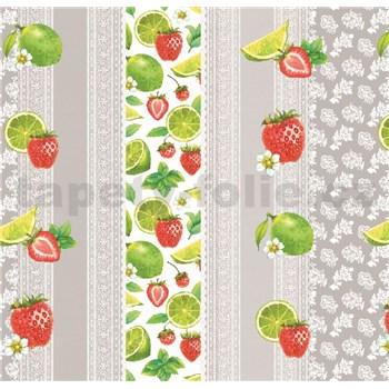 Ubrus metráž krajka s ovocem a mátou
