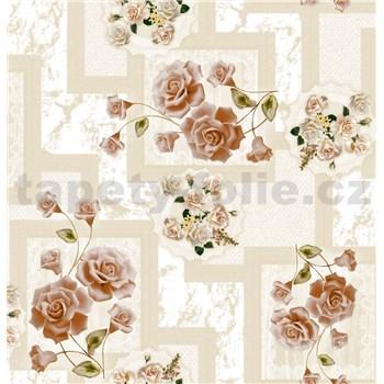 Ubrus metráž růže hnědo-červené
