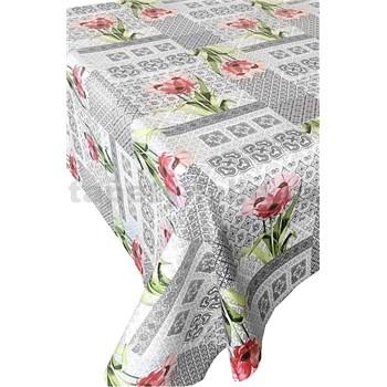 Ubrus metráž ornamenty hnědé s růžovými květinami