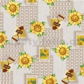 Ubrus metráž slunečnice v zahradě