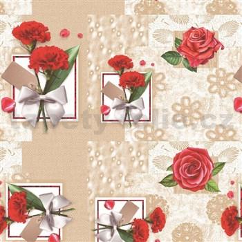 Ubrusy návin 20 m x 140 cm červené karafiáty a růže