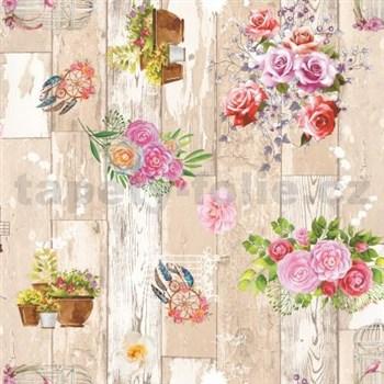 Ubrus metráž dřevěné desky hnědé s růžemi