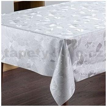 Ubrusy návin 20 m x 140 cm florální vzor stříbrný