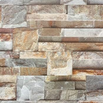 Papírové tapety na zeď kamenná stěna hnědá