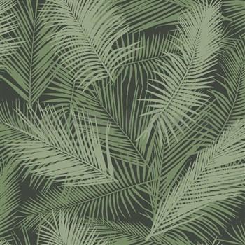Vliesové tapety na zeď IMPOL EDEN palmové listy zelené s metalickým odleskem