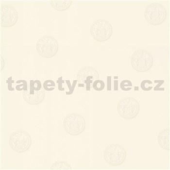 Luxusní vliesové  tapety na zeď Versace III hlava medúzy bílá na krémovém podkladu