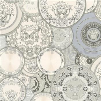 Luxusní vliesové  tapety na zeď Versace III koláž šedo-stříbrná