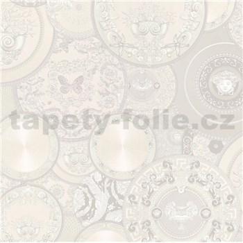 Luxusní vliesové tapety na zeď Versace III koláž bílo-stříbrná