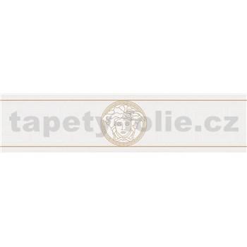 Luxusní vliesové bordury na zeď Versace III hlava medúzy zlato-bílá s řeckým klíčem