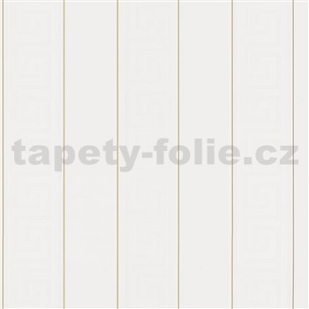 Luxusní vliesové tapety na zeď Versace III řecký klíč bílý se zlatými proužky
