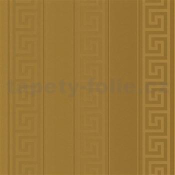 Luxusní vliesové  tapety na zeď Versace III řecký klíč zlatý s pruhy