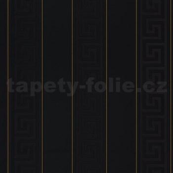Luxusní vliesové tapety na zeď Versace III řecký klíč černý se zlatými proužky