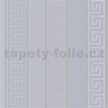 Luxusní vliesové  tapety na zeď Versace III řecký klíč šedý se zlatými proužky